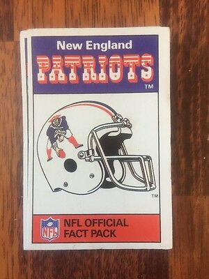 Ace NFL Official FACT Pack New England Patriots 1988 Top Trumps