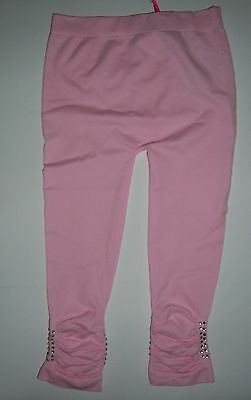 Girls Pink Leggings with Gem detail to ankle