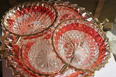 Vintage Czech Cut Glass  large bowl & 4 Small Bowls, Red And Gold, Winged Handle