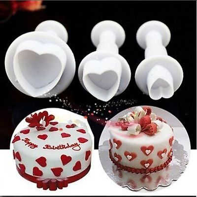 Tool Fondant Sugarcraft Plunger Cutter Mold Mould Love Heart Cake Decorating