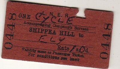 Railway ticket LNER (Cycle) Shippea Hill - Ely 1964