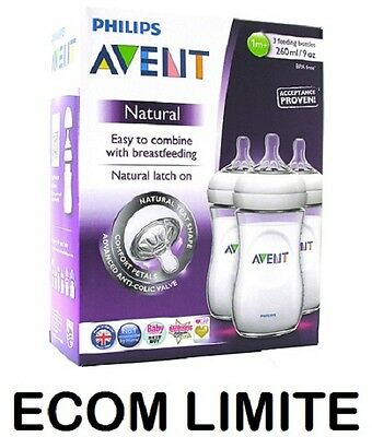 Neuf Avent Philips Naturel Alimentation 3 x Bouteille 260ml 256ml BBA SANS