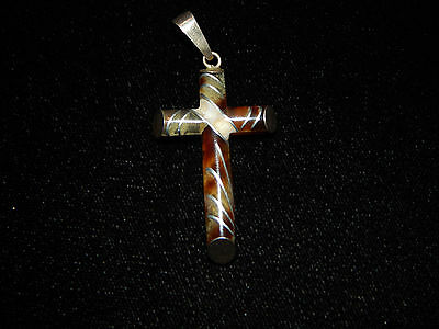 Antique Victorian Tortoise Cross with Pique Style Sterling Inlay
