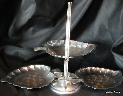 Vintage Mid Century Chrome Tri Fold Leaf Shape Tray Made in Hong Kong