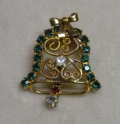 Estate Vtg Gold Plated Crystal Emerald Cry Rhinestone Christmas Bell Pin Brooch