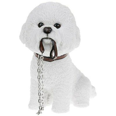 White Bichon Frise Sitting Holding a Lead Figure