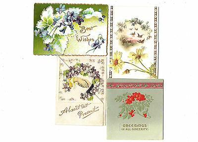 4 x VICTORIAN NEW YEAR CHRISTMAS GREETING CARDS EMBOSSED FLOWERS BERRIES