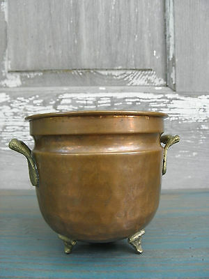 Vintage Imported Hammered Copper Footed 3-Toed Pot Planter Turkey