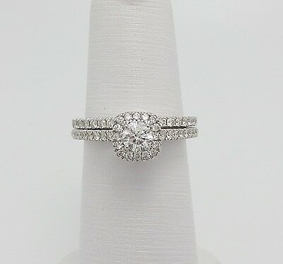 Vera Wang LOVE Collection 1CT Diamond Engagement Wedding Ring Set 14K White Gold