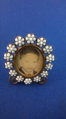 Antique French Blue Opaline Glass Flowers and Brass Picture Frame