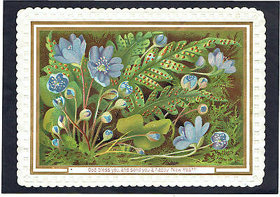 Victorian New Year Greetings Card Fern Spores Blue Flowers Religious Text