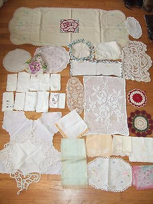 lot 30+ vintage handkerchief doilies tablerunners cutters craft linens repurpose