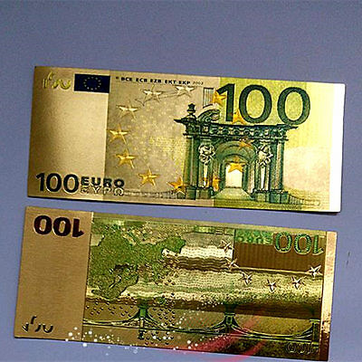 EURO €100 Coloured Gold Foil Dollars Collection Arts Banknotes Gift 1PCS