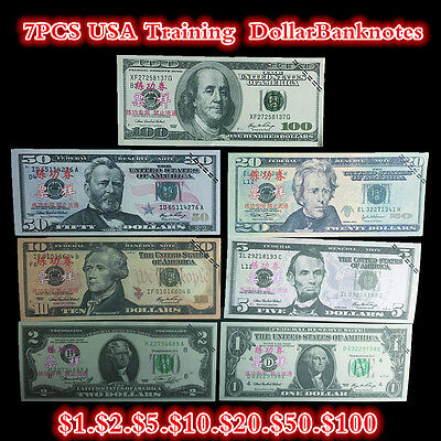 7PCS USA $100,50,20,10,5,2,1 Dollars Training Collect Learning Banknotes