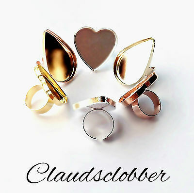 2 x Gold, Silver, Rose Gold Plated Heart & Teardrop Adjustable Ring Base/Blank