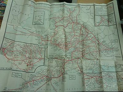 Vintage Great Western Railway Route Map Of Britain 24 X 21 Inch
