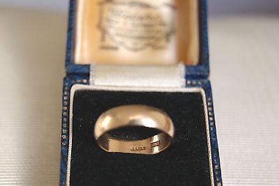 Fine Vintage Art Deco 9 Carat Yellow Gold Wide Wedding Ring Band Size K  2.8 G