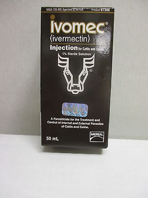Ivomec ( Ivermectin ) 1% Injectable for Cattle and Swine, 50 ml - Merial