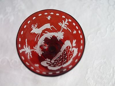 Ruby Red To Clear Etched Tall Crystal Liqueur Glass Stag Bohemian