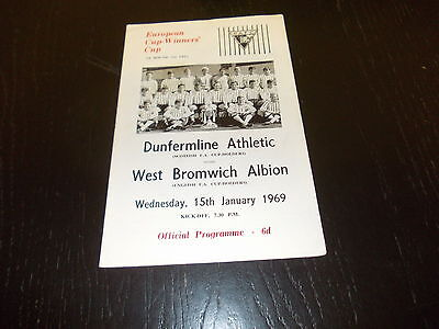 Dunfermline v West Bromwich Albion  15th Jan 1969  European Cup Winners Cup