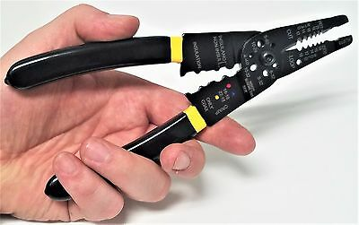 "8"" CRIMPING Multi-Function: Pliers, wire stripper 12-24 AWG, wire cutter Crimper"