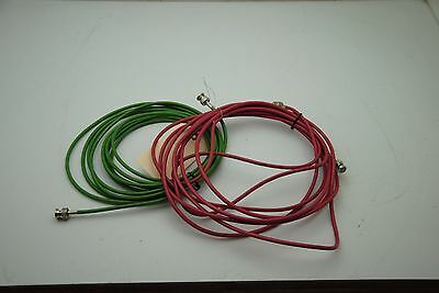 2 cables 15 ft each , RG58 with BNC, lot of 2 1 each red, green (amm)
