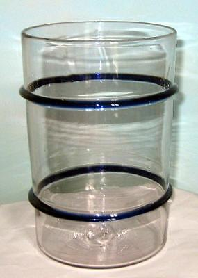 19th C antique glass Ring Jar - RARE cobalt blue rings - apothecary tobacconist