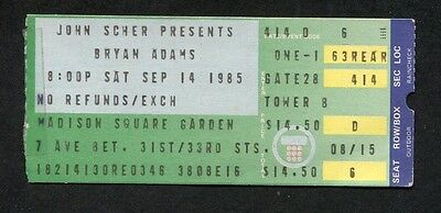 1985 Bryan Adams concert ticket stub Madison Square Garden NY Reckless Tour
