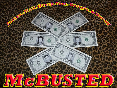 McBusted.McFly James.Matt.Harry.Tom.Dougie.Danny.Busted  Dollar Bill Bank Notes.
