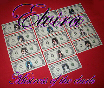 Elvira, Mistress of the Dark. Dollar Bill Bank Notes.Halloween. prize.party.£$