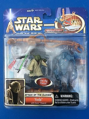 Star Wars AOTC Action Figure Set Yoda With Force Powers & Super Battle Droid MIP