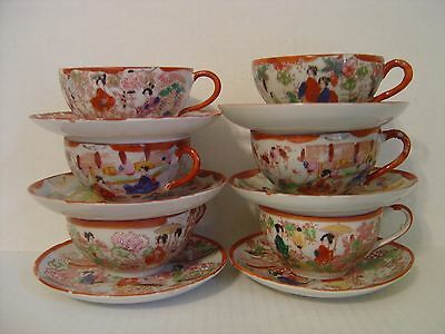 Vintage Japanese Lot Of Six Different Red Geisha Girl Cups And Saucers