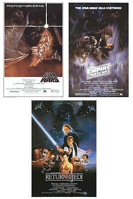 STAR WARS ~ 3 POSTER SET 27x40 CLASSIC MOVIE TRILOGY LOT Empire Strikes Back ROJ