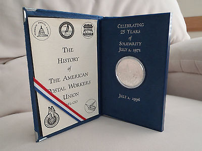 American Postal Worker Union Apwu 25Th Anniversary Silver Coin