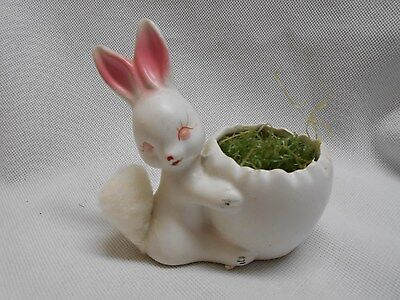 vintage Inarco Easter bunny rabbit egg holder white with pink ears & old grass