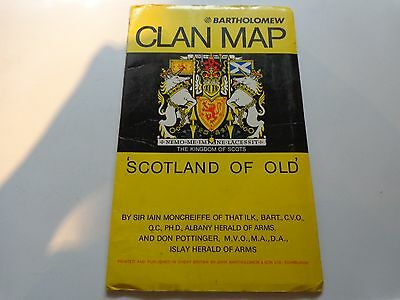 "Scottish Bartholomew Clan Map ""Scotland of Old""  30"" x 40"" Nice Condition!"