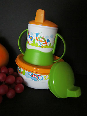 New TUPPERWARE Infant to Toddler Feeding Set Sippy Cup Bowl  Girls/Boys #2C