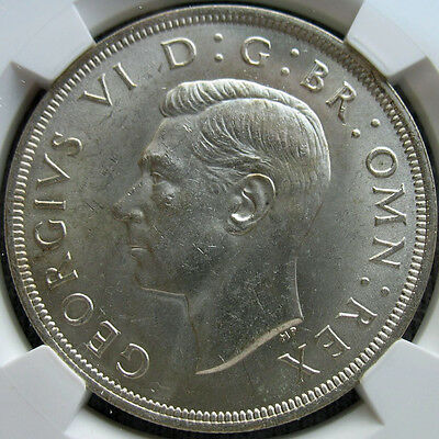 1937 King George VI Coronation Crown, UNC Silver Coin, NGC MS63 High Grade