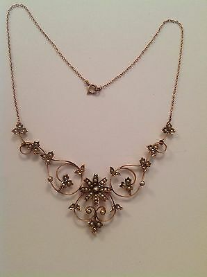 Attractive Antique Victorian 9ct Gold & Seed Pearl Set Necklace