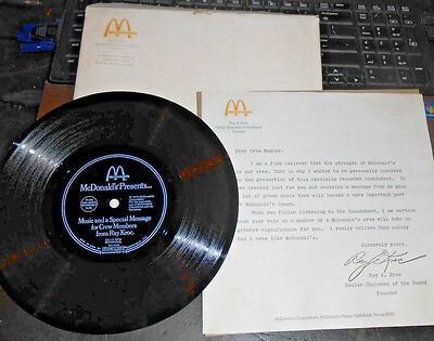 1979 McDonalds Ray Kroc Message For Crew on 33 rpm Vinyl Record w Papers