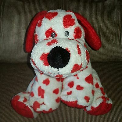 """Ty Pluffies SWEETLY Valentine White Puppy Red Hearts 9"""" Soft Tylux Plush 2006"""