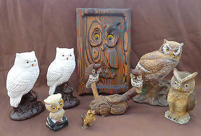 Lot Vtg Owl Figurines Carved Wood Plaque Ceramic Perched Weather Bank White