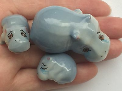 RARE Wade Whimsies Happy Family Hippo Mother & Two Babies Porcelain