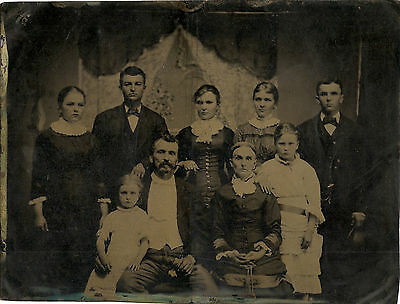 Unusually large tintype of family No Id.