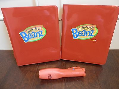 Mighty Beanz - 2 Red Cases & Lot 34 Beans + Flip Track