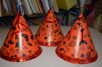 qty 3 vintage halloween party hats Japan witches goblins skulls black cats owls