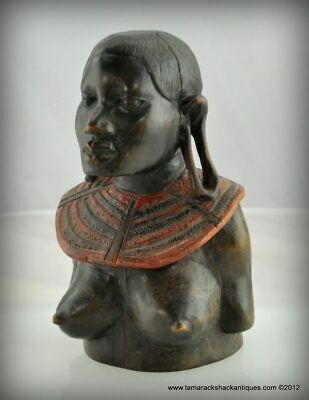Old African Carved Bust Statuette Nude Maasai Woman Stretched Ear Lobes Folk Art