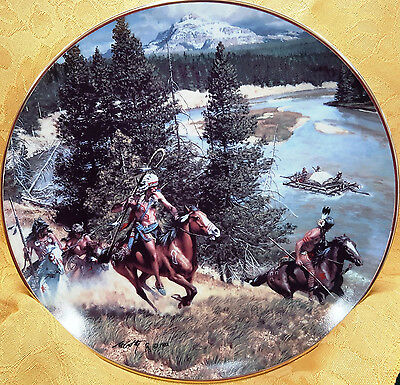 """The Hostile Threat"" Indians watch Raft-Frank McCarthy Hamilton PLT 24K GOLD RIM"