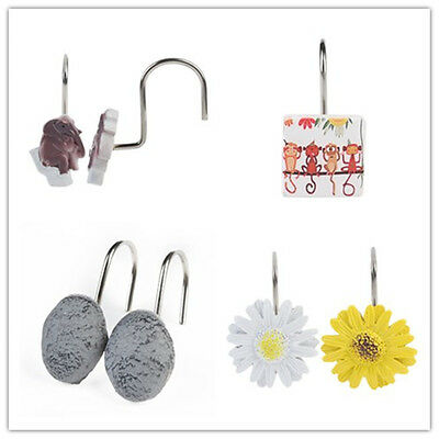 12x Decorative Curtain Resin Floral Rolling Bathroom Shower Curtain Hooks Rings