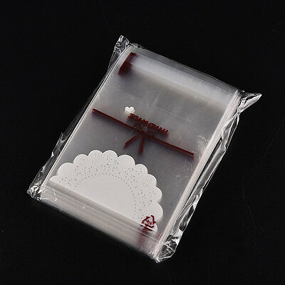 Hot 100pcs white lace self-adhesive plastic bags for Handmade biscuits snack HS